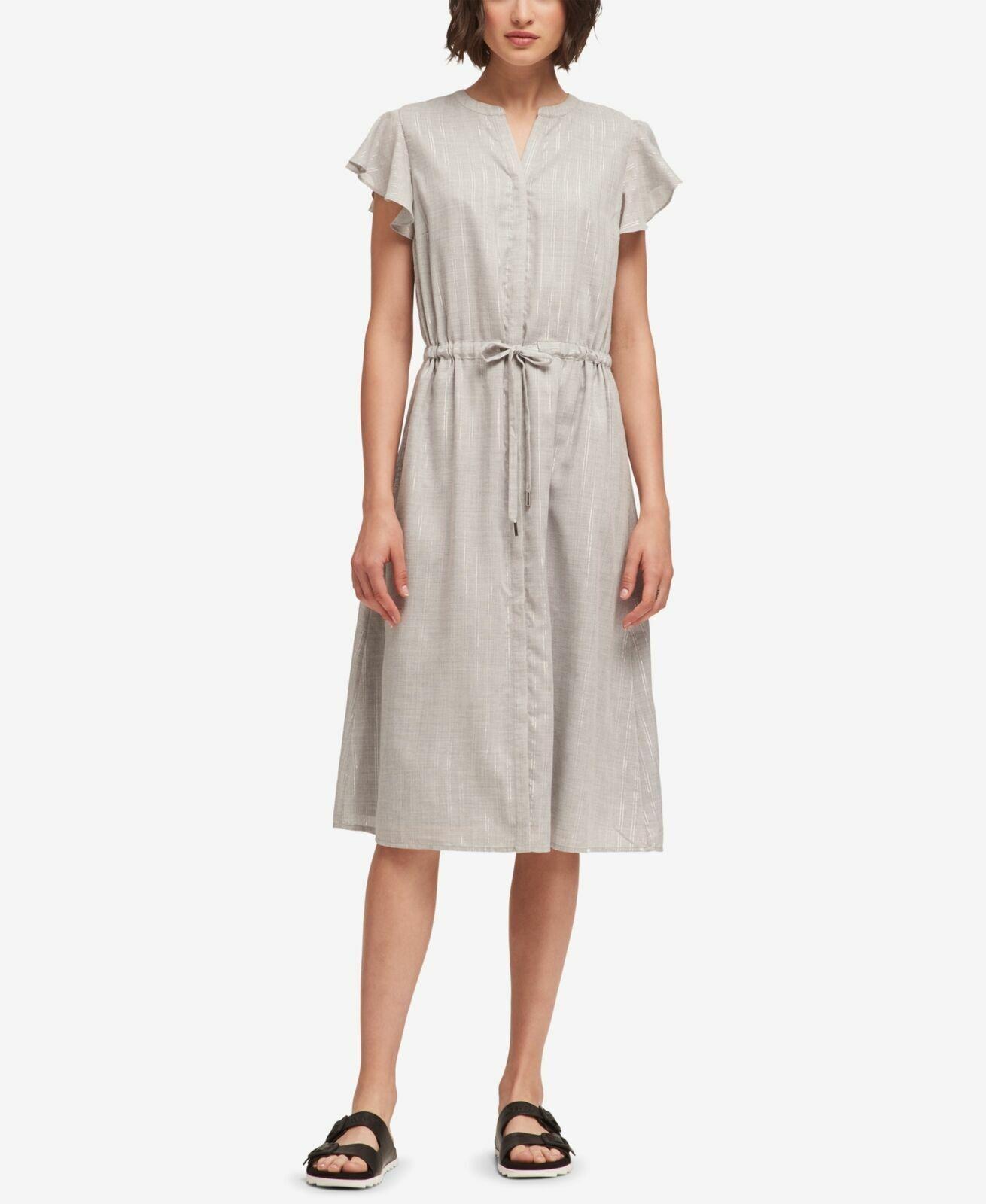 New  DKNY Shimmer-Stripe Flutter-Sleeve Heather grau Casual Dress Größe Large