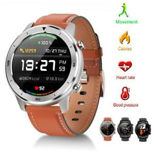 HUAWEI iPhone Smartwatch IP68 Blutdruck Pulsuhr Fitness Tracker Leder Sport Uhr