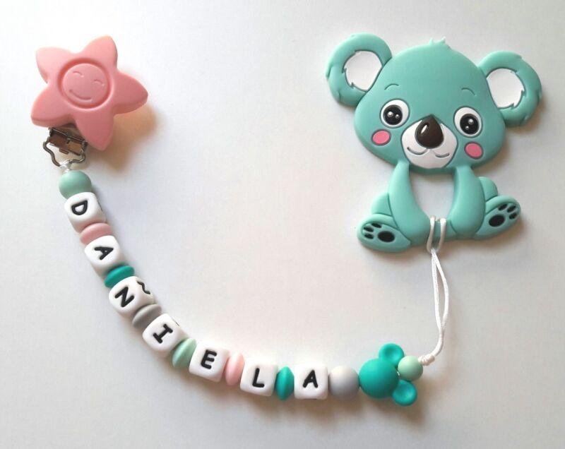 Chupetero De Silicona Personalizado Con Nombre Y Mordedor Koala Turquesa