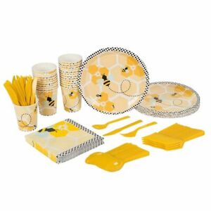24 Set Bumblebee Cute Bee Dinnerware for Birthday Party Baby Shower Kids Theme