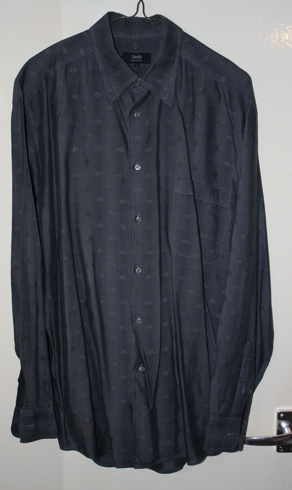 Handmade siIver grey Italian Mens shirt Zanella Courtoue San Francisco Large