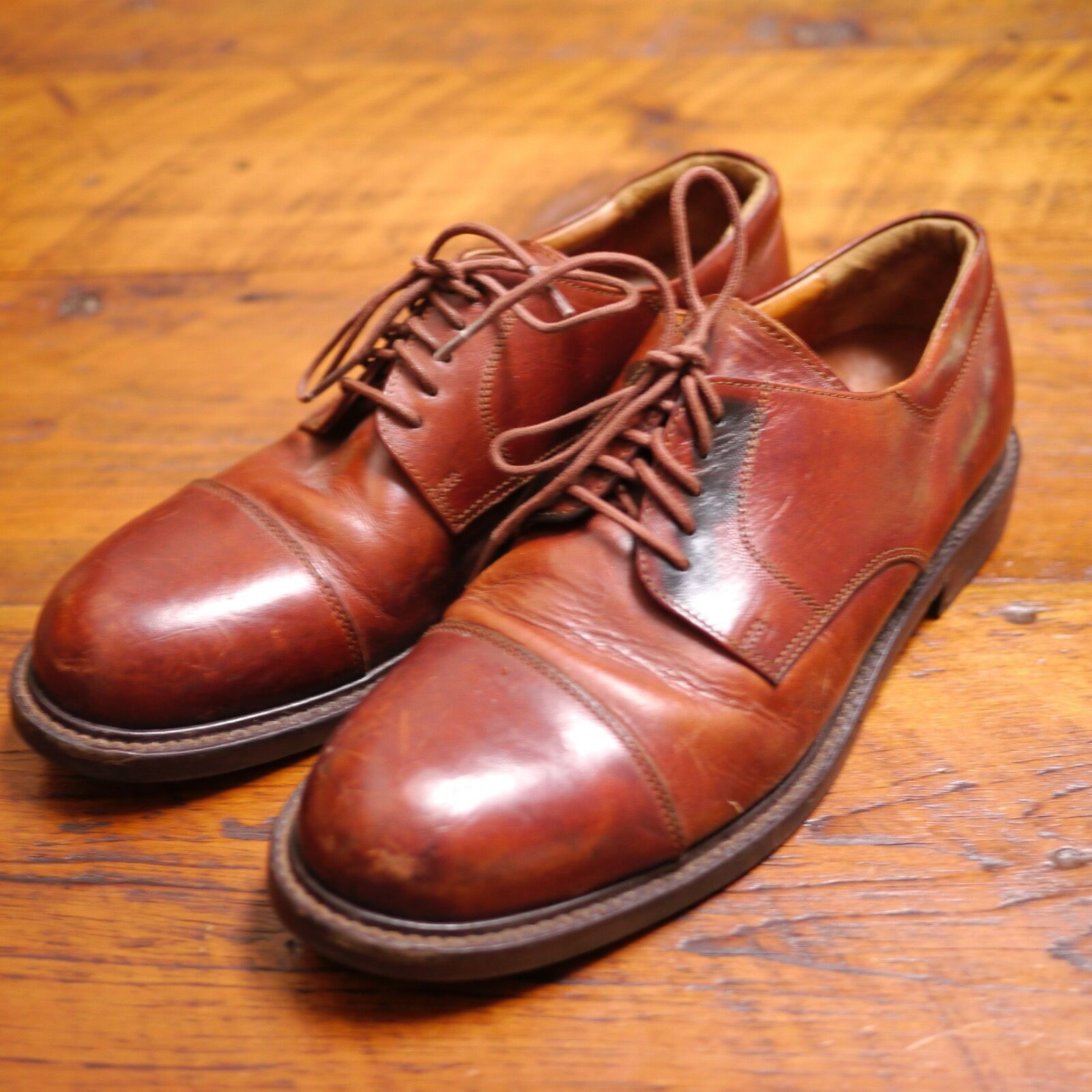 JOHNSTON & MURPHY Made in  Brown Leather Cap Toe Dress shoes 9 42.5