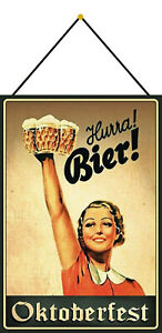 Hurra-Beer-Oktoberfest-Shield-with-Cord-Tin-Sign-7-7-8x11-13-16in-FA0193-K