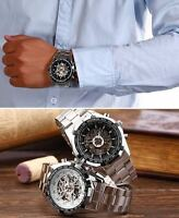 new Fashion Men Skeleton  Automatic Mechanical Wrist Watch Stainless Steel Band