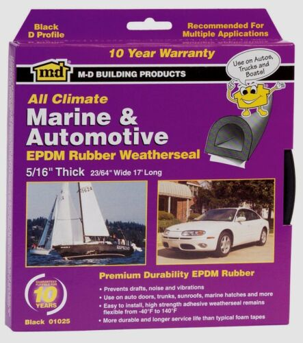 "M-D 01025 RUBBER WEATHER SEAL Weatherstrip Auto Marine Draft Squeaks 5//16/"" x 17/'"