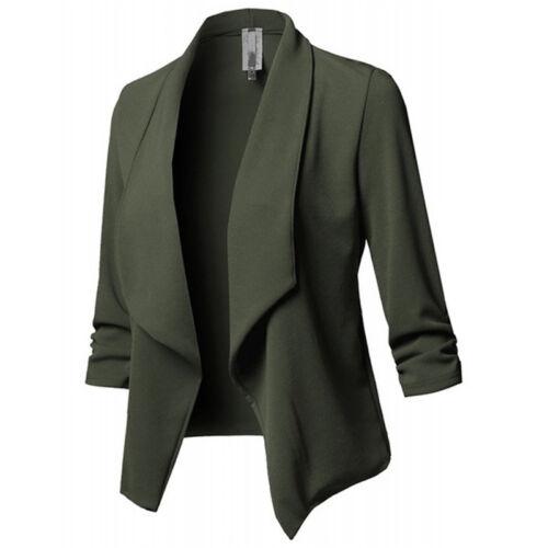 Plus Size Womens Collar Suit Jacket Coat Ladies OL Office Formal Blazer Cardigan