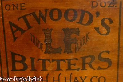 crate bitters antique wood  vintage 1850s l.f..atwoods