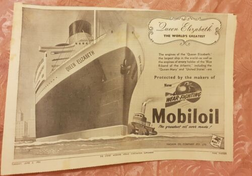 Mobiloil Queen Elizabeth Coronation 1953 Advertisement