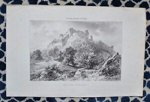 Grande Lithographie Xixème Par Edmond Tudot Et Tirpenne - Château De Mozun