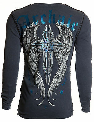 Archaic AFFLICTION Mens THERMAL Whipstitch T-Shirt FERAL Biker MMA UFC M-XXL $58
