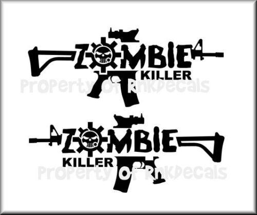 ZOMBIE Killer AR15 GUN Set of 2 Vinyl Decal Wall Car Window Laptop 21Colors