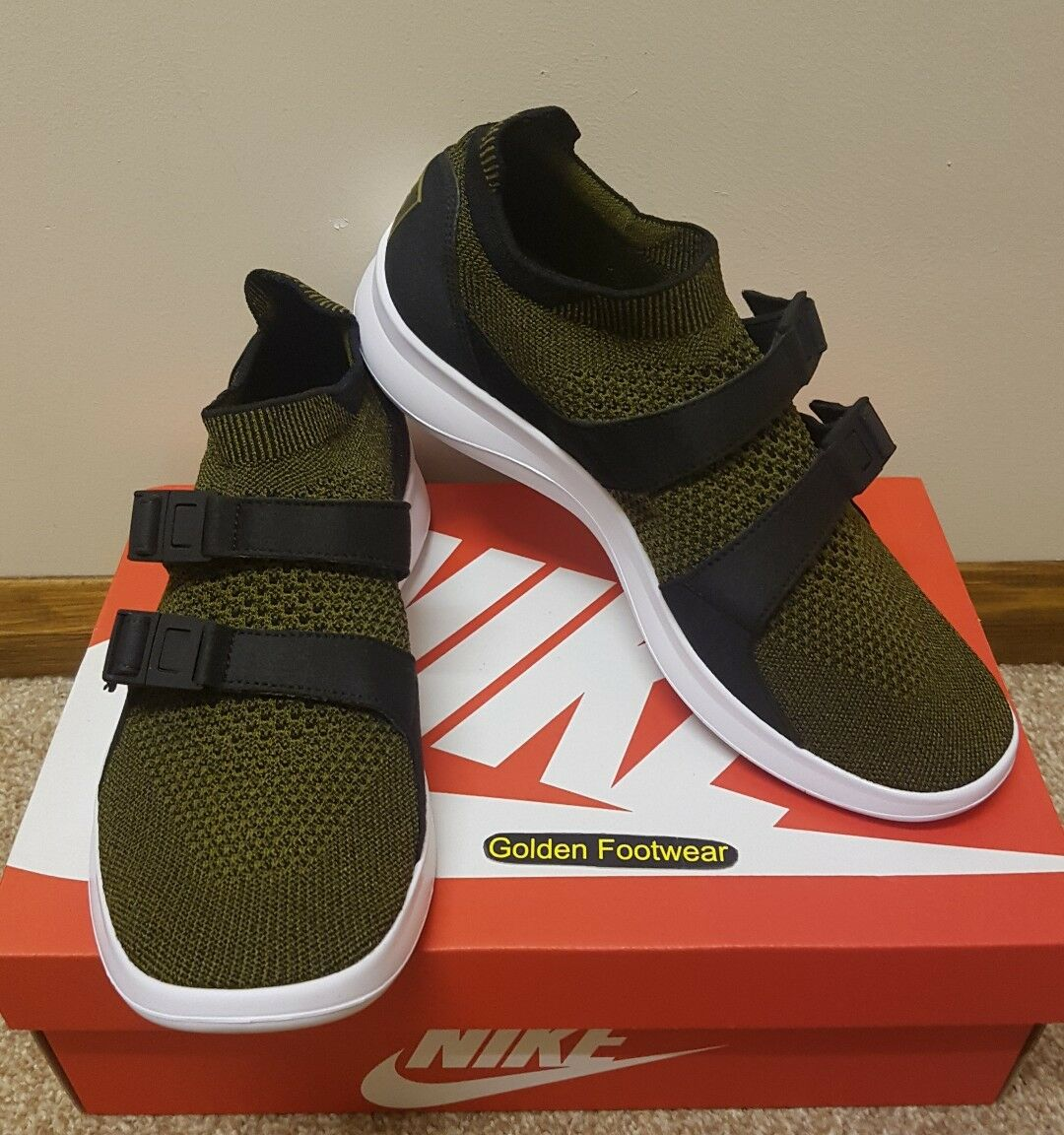 Nike Nike Nike Air Sockracer Flyknit Size 8 UK Olive Genuine Authentic Mens Trainers Max 1 0952af