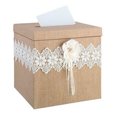 Briefbox Jute mit Blume Hochzeit Dekoration Geldbox Kartenbox Geld Brief Box