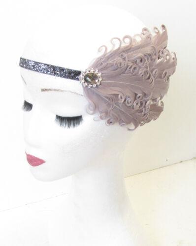 Grau /& Dunkel Silber Strass Feder Stirnband Haarband Retro Flapper 1920er Jahre
