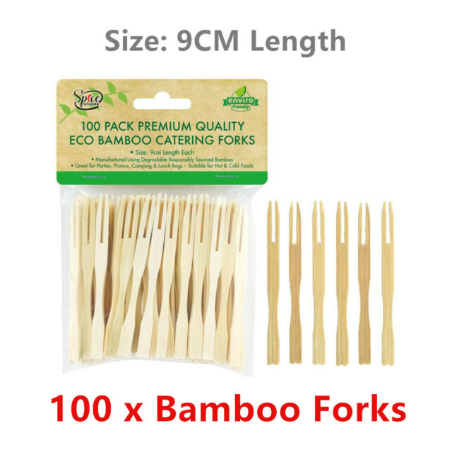 100x Natural Bamboo Catering Forks 9CM Disposable Party Picks BBQ Cocktail Fruit