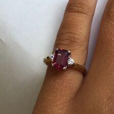 18k Yellow Gold Pink Tourmaline And Diamond Ring Size 3.5