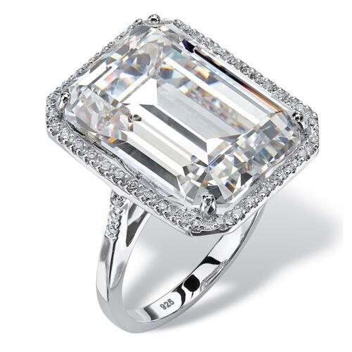 15 Carat White Emerald Cut Diamond Jumbo Engagement Ring 14K White Gold Finish