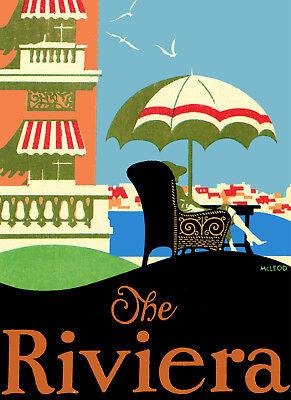 Vintage Travel POSTER.Riviera.Italy.Room art Decor.Studio Interior design.698