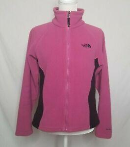 The-North-Face-Womens-Small-Full-Zip-Fleece-Jacket-TKA-200-Pink-Black-TNF