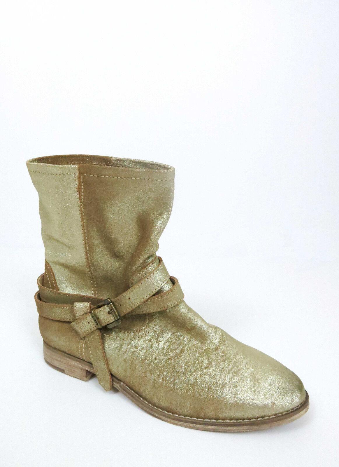 Aldo para Mujer Moda botas gamuza al Tobillo Hebilla Correa de cuero de gamuza botas oro 7.5 919b0a