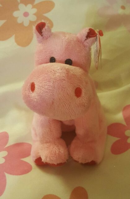 aac10b84027 TY Originsl Beanie Babies BIG KISS the Pink Hippo 6 inch Stuffed Animal Toy