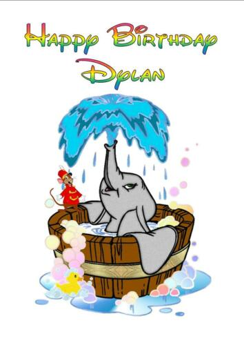 "Personalised Printed /""DUMBO IN WATER TUB/"" Birthday Card Any Age Name"