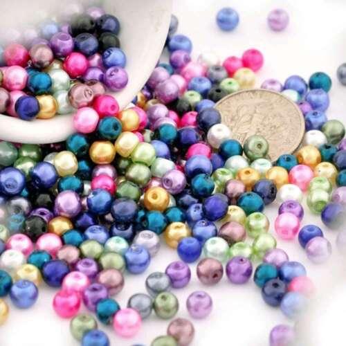 230 un mezclados al azar de cristal de perla redonda con Cuentas Espaciador Craft haciendo 3x3mm GP0009