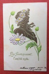 CPA-1905-Buste-Femme-Marguerites-Art-Nouveau-Relief-Dore-Gaufree-Amitie