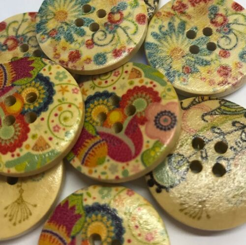 9 large wooden buttons 25mm 3 each of 3 designs