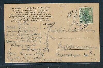 35048) Bahnpost Ovalstempel Berlin - Hamburg Zug 3, Karte 1905
