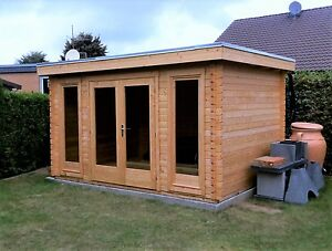 Details zu Flachdach Gartenhaus Holz Modern 40mm ISO 3.9x3M,Blockhaus Melle  EB40206F18ISO