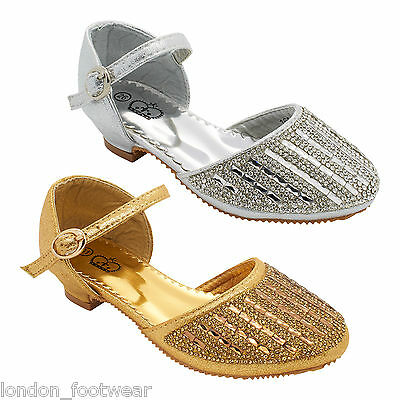 Girls Kids Diamante Low Block Heel Shoe Party Wedding Childrens Ankle Strap Size