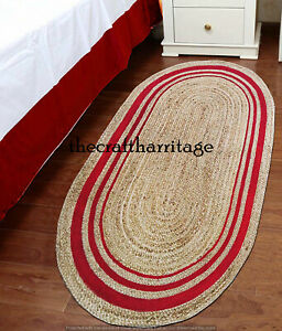 Natural Jute Oval Area Rug Braided Hand