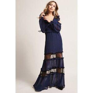 f4b731a4786 Forever 21 DarkPink Navy Black Lace Cold Shoulder Maxi Dress Medium ...