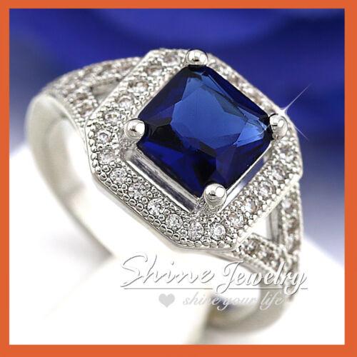 9K WHITE GOLD GF SPLIT SHANK SQUARE HALO Blue Sapphire ENGAGEMENT WEDDING RING