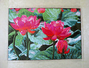 Oriental Art Chinese Famous Handmade Embroidery Painting Lotus