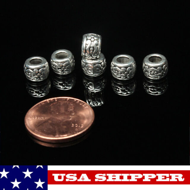 6-200 Tibetan Silver Barrel/Drum Beads 7.5mm x5.5mm, New, Fast Free Ship  tb36