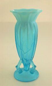 Antique Dugan Blue Opalescent Twig Art Glass Vase Ladies Cuspidor 1898