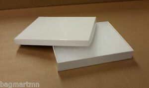 "7""x 5.5""x 1"" Plain White Cotton Filled Jewelry Gift Boxes (25-50-75-100)"