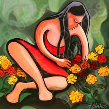 ANDRE DLUHOS seated female figure woman flower girl modern ORIGINAL Oil Painting