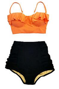 Women Vintage Swimsuit Midkini Orange Bikini Top and Tribute High Waist Bottom