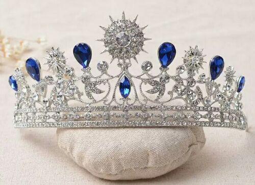 royal blue wedding prom tiara bridal headpeice sparkle prop UK