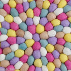 Freckled Candy Pop 100% Wool Carpet Felt Ball Designer Handmade Mat Round Rug