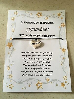 FATHER'S DAY GRANDPA WISH KEY CHARM CARD FATHERS VARIOUS COLOURS CHARMS POEM