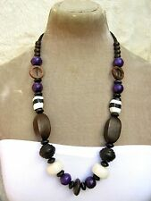 "26"" Long Purple Black White Brown Wooden Bead Necklace Fairtrade Hippy boho Arty"