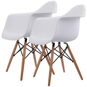 Set Of 2 Mid Century Modern Molded Dining Arm Side Chair