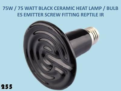 Hartig 75w/75 Watt Black Ceramic Heat Lamp Bulb For Vivarium Pet. Eddison Screw Es 255