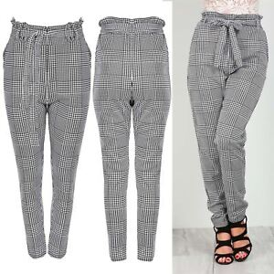 1a717c886cc Image is loading Ladies-Elastic-Tie-Knot-Waist-Dogtooth-Houndstooth-Pockets-