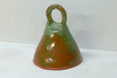 Large Primitive Red Ware/Terra Cotta Bell Artist Signed Vogel