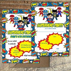 BIRTHDAY-INVITATIONS-Superhero-Party-Personalised-or-Blank-Any-Age-PK-10